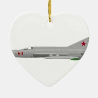 MiG 21MF Fishbed J Adorno Navideño De Cerámica En Forma De Corazón