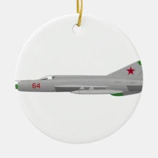 MiG 21MF Fishbed J Adorno Navideño Redondo De Cerámica