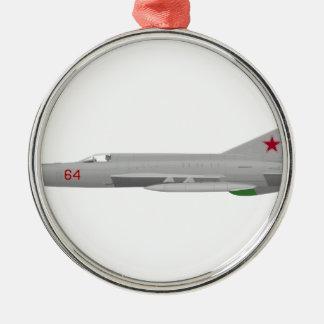 MiG 21MF Fishbed J Adorno Navideño Redondo De Metal