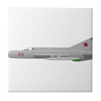 MiG 21MF Fishbed J Azulejo Cuadrado Pequeño