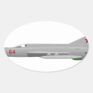 MiG 21MF Fishbed J Pegatina Ovalada