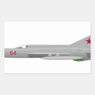 MiG 21MF Fishbed J Pegatina Rectangular