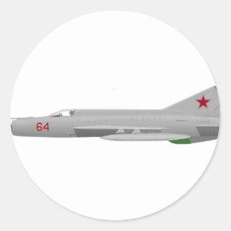 MiG 21MF Fishbed J Pegatina Redonda