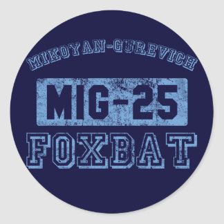 MIG-25 Foxbat - AZUL Etiqueta Redonda