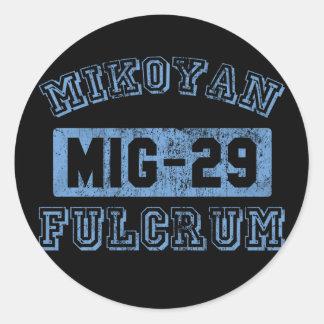 MIG-29 fulcro - AZUL Pegatinas Redondas