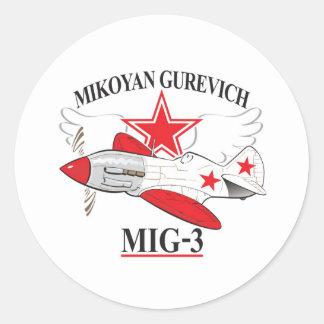 mig-3 mikoyan etiqueta redonda