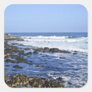 Migas de la playa calcomania cuadrada personalizada