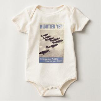 mightier yet world war 2 vintage design baby bodysuit