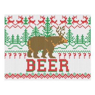 Mighty Bear Deer Beer Christmas Jumper Knit Style Postcard
