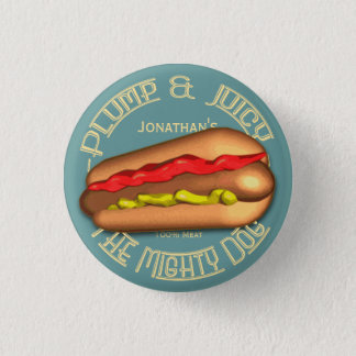 Mighty Dog Hotdog Personalized Button