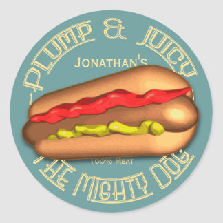 Mighty Dog Hotdog Personalized Classic Round Sticker