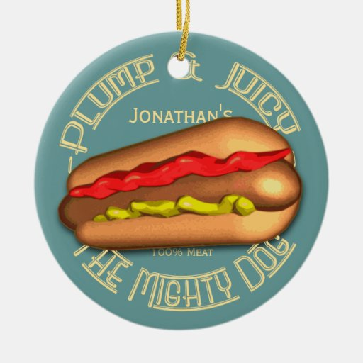 Mighty Dog Hotdog Personalized Double-Sided Ceramic Round Christmas Ornament