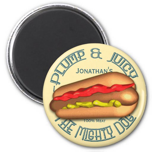 Mighty Dog Hotdog Personalized Magnets