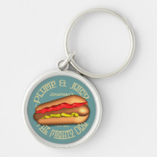 Mighty Dog Hotdog Personalized Silver-Colored Round Keychain