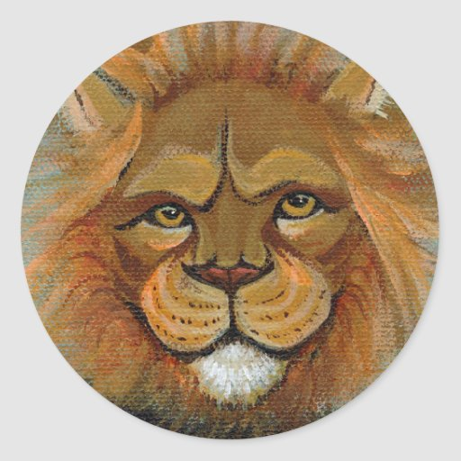Mighty lion fun painting unique original art judge classic round sticker