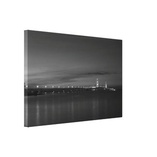 Mighty Mac At Night Pano Grayscale Canvas Print