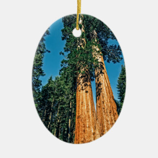 Mighty Redwood Double-Sided Oval Ceramic Christmas Ornament