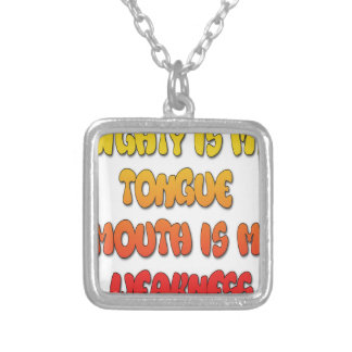 Mighty Tongue Weak Mouth pic Square Pendant Necklace