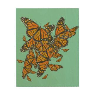 Migración de las mariposas de monarca - arte de cuadros de madera