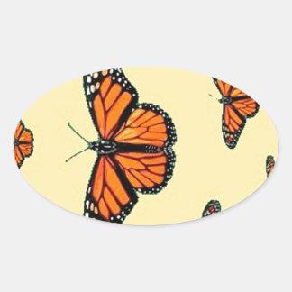 Migración de las mariposas de monarca por Sharles Calcomania Oval Personalizadas
