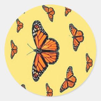 Migración de las mariposas de monarca por Sharles Etiquetas Redondas