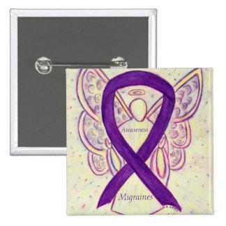Migraines Awareness Ribbon Angel Custom Pin