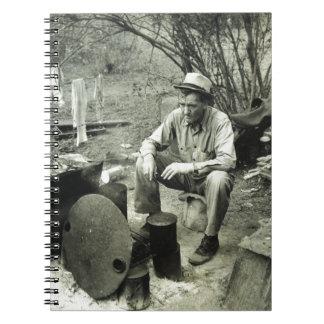 Migrant at campfire - 1939. note books