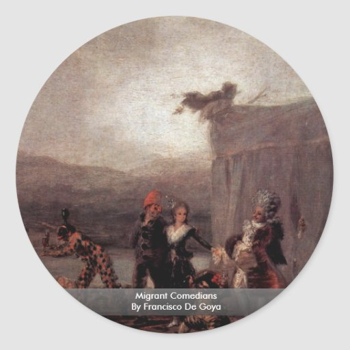 Migrant Comedians By Francisco De Goya Classic Round Sticker