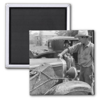 Migrant Fruit Worker Cars, 1940 2 Inch Square Magnet