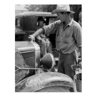 Migrant Fruit Worker Cars, 1940 Postcard