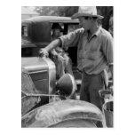 Migrant Fruit Worker Cars, 1940 Postcards