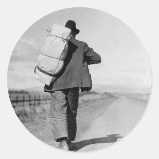 Migrant Walking – 1935 Classic Round Sticker