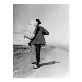 Migrant Walking – 1935 Postcards