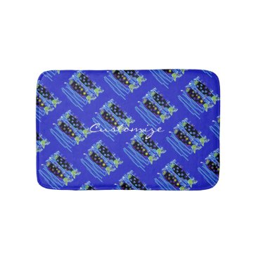 Beach Themed migrating fish any color Thunder_Cove Bath Mat