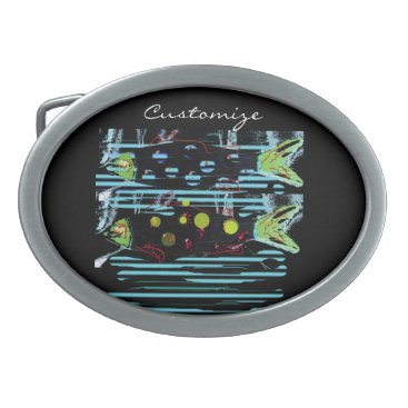 Beach Themed migrating fish any color Thunder_Cove Oval Belt Buckle