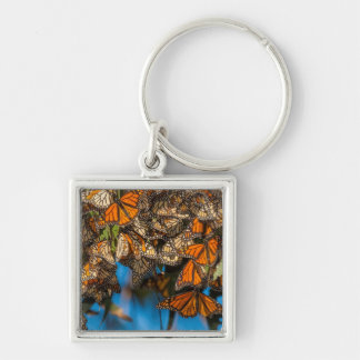 Migrating monarch butterflies cling to leaves keychain