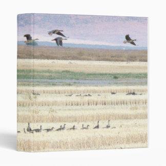 Migrating White Fronted Geese Birds Wildlife 3 Ring Binder