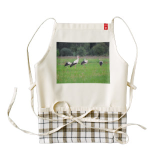 Migrating white storks, ciconia, in a meadow zazzle HEART apron