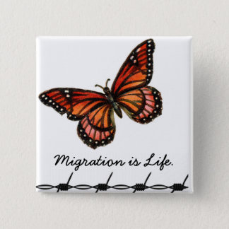 Migration is Life w/ butterfly & barbed wire Pinback Button