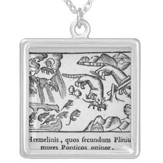 Migration of lemmings square pendant necklace
