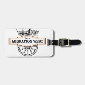migration west wagons luggage tag