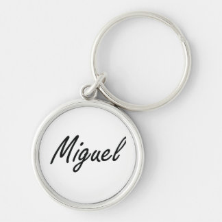 Miguel Artistic Name Design Silver-Colored Round Keychain