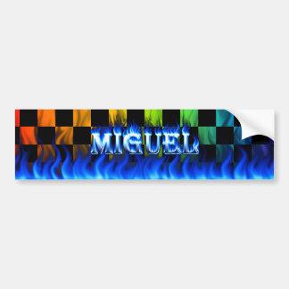 Miguel blue fire and flames bumper sticker design. car bumper sticker