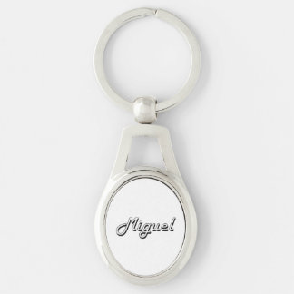 Miguel Classic Retro Name Design Silver-Colored Oval Metal Keychain