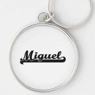 Miguel Classic Retro Name Design Silver-Colored Round Keychain