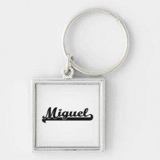 Miguel Classic Retro Name Design Silver-Colored Square Keychain