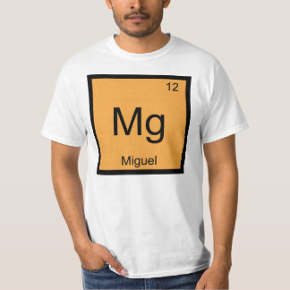 Miguel Name Chemistry Element Periodic Table T Shirt