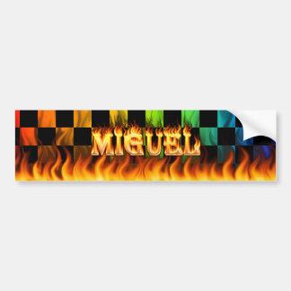 Miguel real fire and flames bumper sticker design. car bumper sticker