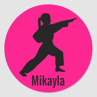 Mikayla hot pink Karate Girl stickers