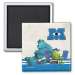 Mike and Sulley Reading 2 Inch Square Magnet